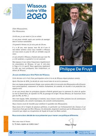 Tract : candidature Philippe De Fruyt